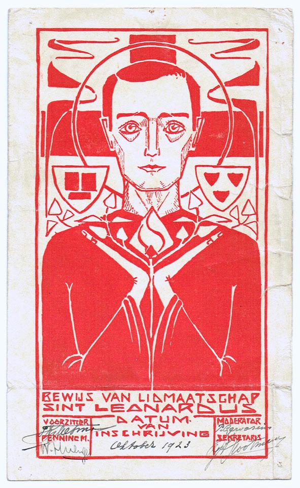 Lidmaatschapskaart van studentenvereniging St. Leonardus in Tilburg (1923)
