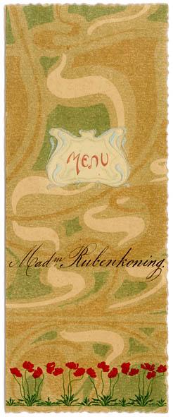 art nouveau jugendstil menukaart uit 1903