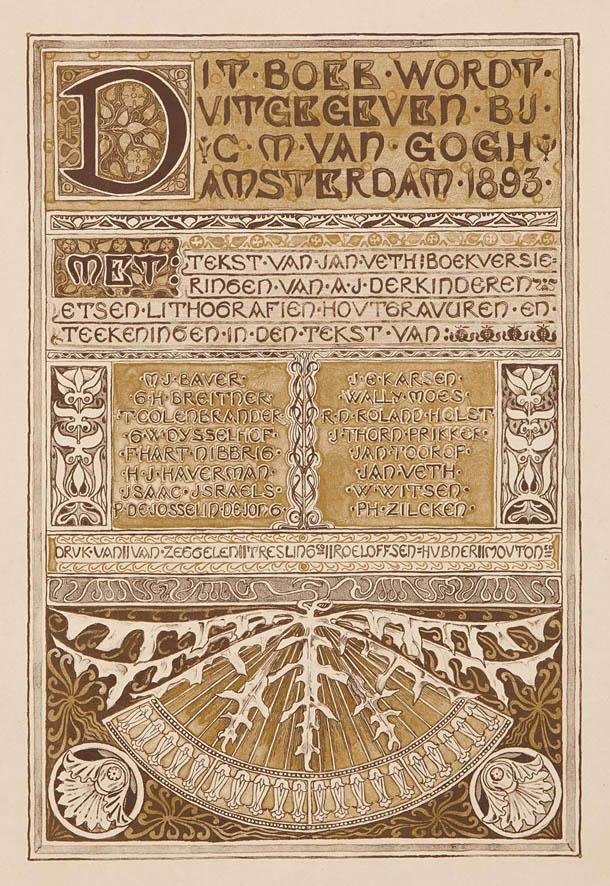 Colofonblad Gedenkboek Keuze Tentoonstelling van Hollandsche schilderkunst, ontwerp Antoon Derkinderen (1893)
