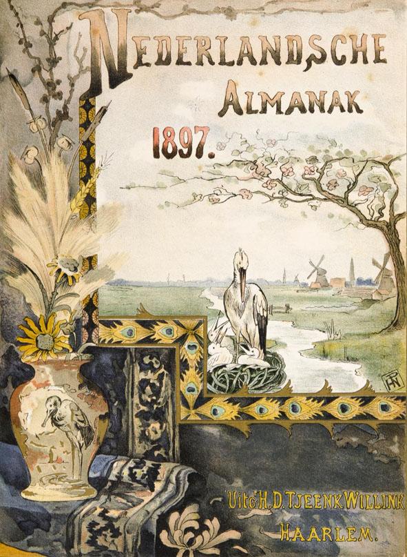 Nederlandsche Almanak voor 1896 art nouveau omslagontwerp: Hendrik Nicolaas Postma