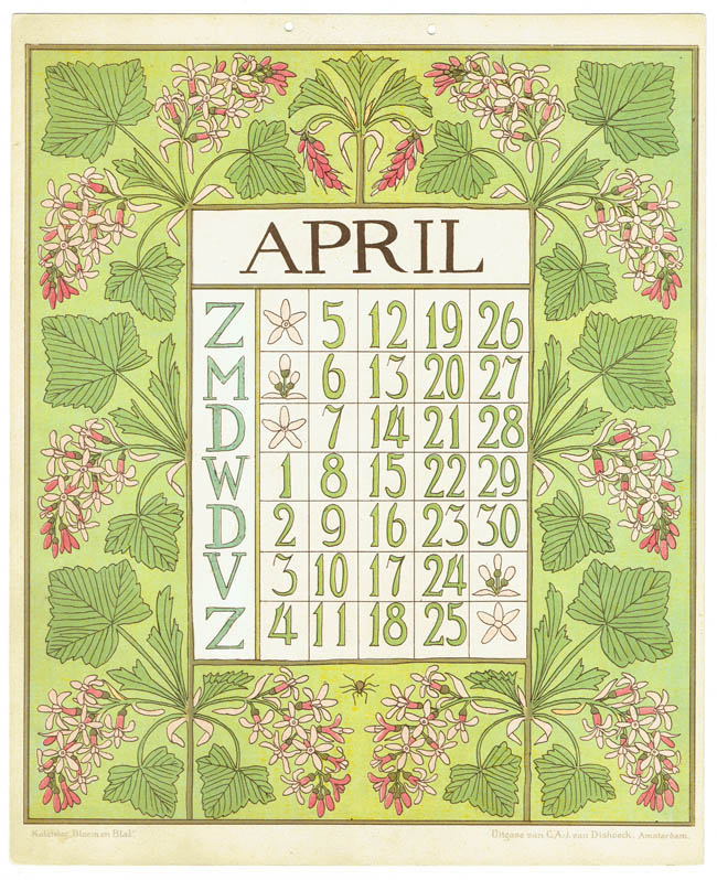 art_nouveau_kalenderblad_netty_vd_waarden_bloem_blad_kalender_april_1903