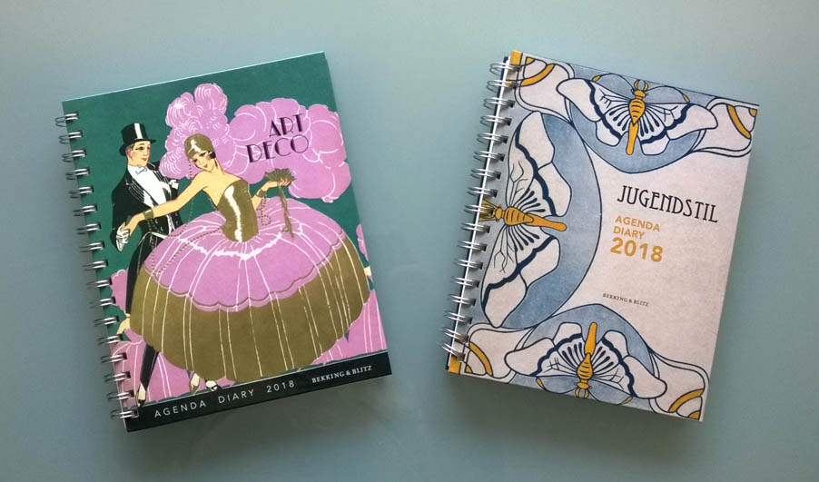 Jugendstil agenda en Art Deco agenda jaar 2018 uitgeverij Bekking en Blitz