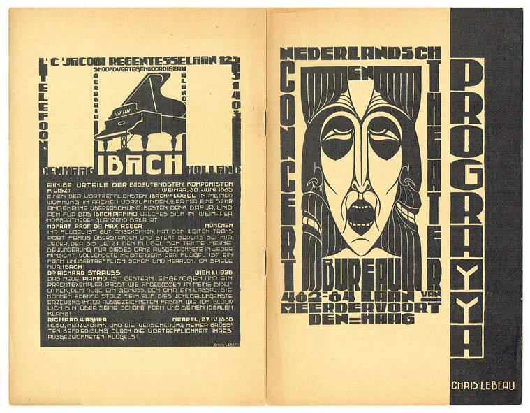 Chris Lebeau, programmaboekje voor het Nederlandsch Concert en Theaterbureau (seizoen 1928-1929) met advertentie voor Ibach