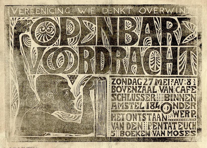Convocatie openbare voordracht het ontstaan van den pentateuch ontwerp: K.P.C. de Bazel