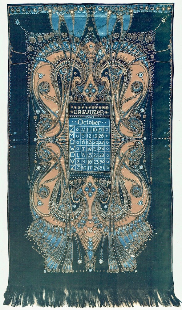 Kalender op gebatikt katoen, ontwerp: Jan Gouwetor, uitvoering: Chris Lebeau