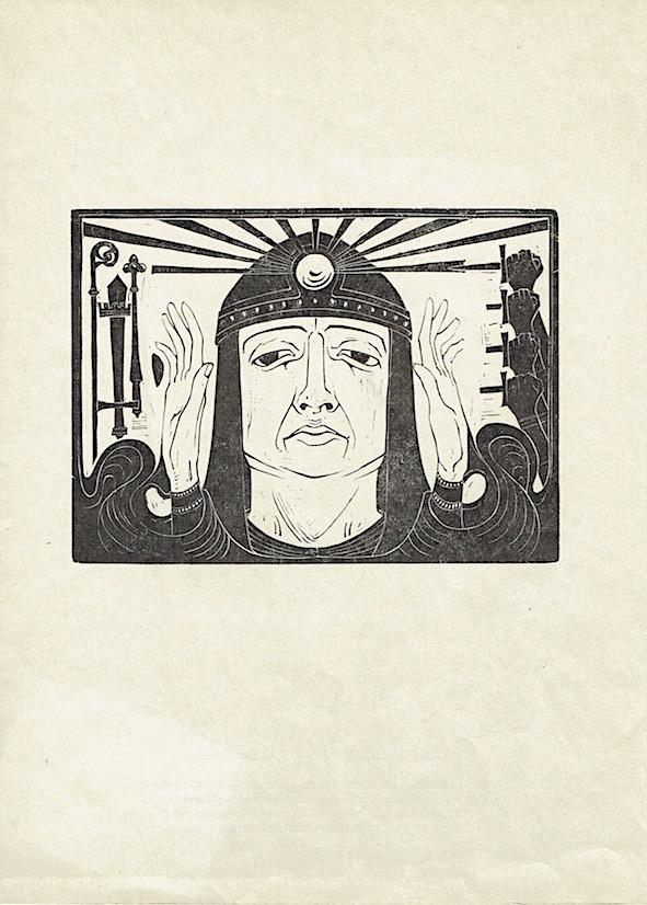 Houtsnede van K.P.C. de Bazel titel: De tocht der Argonauten
