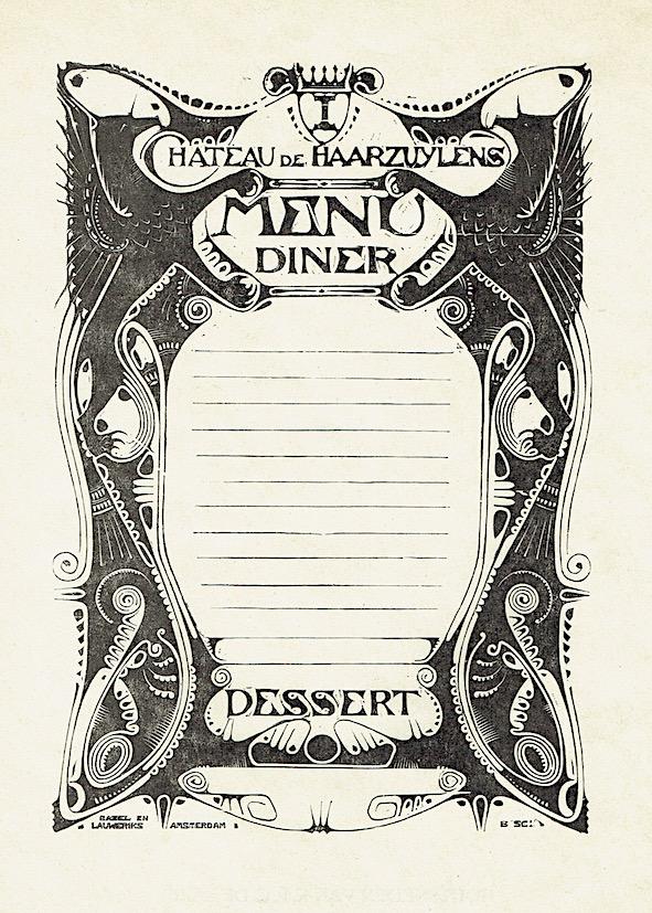 Menukaart voor Kasteel Haarzuilens, houtsnede door Karel de Bazel (1896, uitgave: 1925)