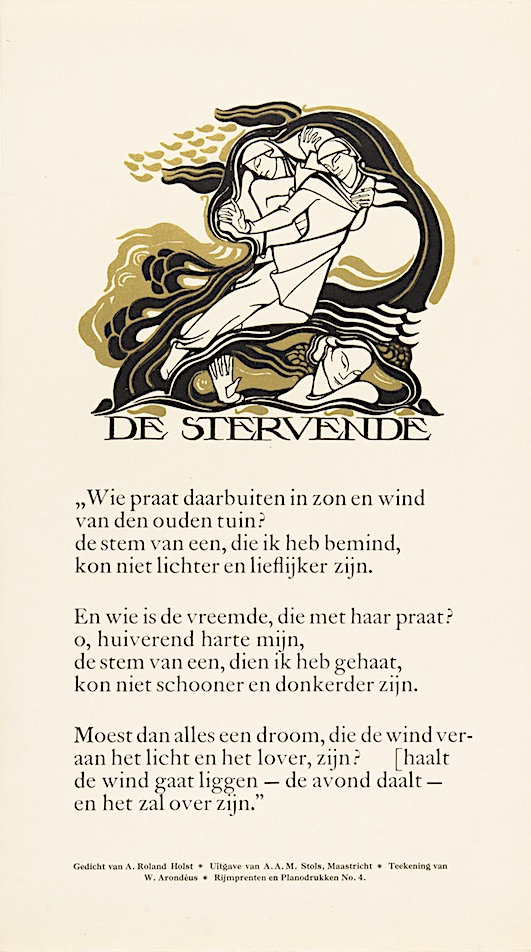 Rijmprent Willem Arondeus bij gedicht 'De Stervende' van Adriaan Roland Holst uitgeverij A.A.M. Stols 1929