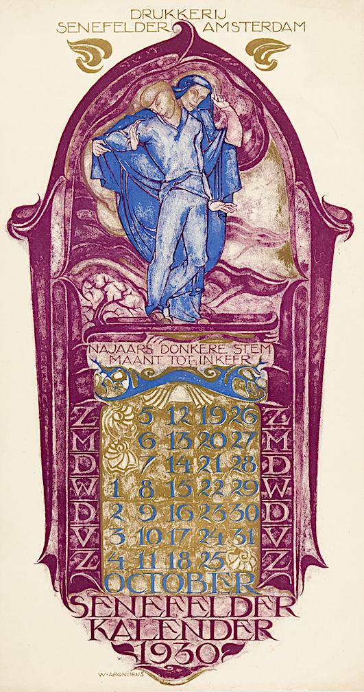 Drukkerij Senefelder kalender kalenderblad oktober 1930 ontwerper Willem Arondeus