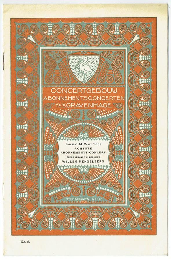 Programma van het Concertgebouw te 's Gravenhage (1909), omslagontwerp: Theo Neuhuys
