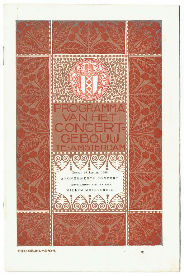 Programma van het Concertgebouw te Amsterdam (1906), omslagontwerp: Theo Neuhuys
