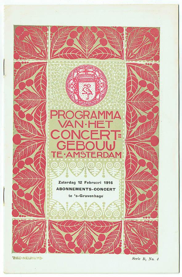 Programma van het Concertgebouw te Amsterdam (1916), omslagontwerp: Theo Neuhuys