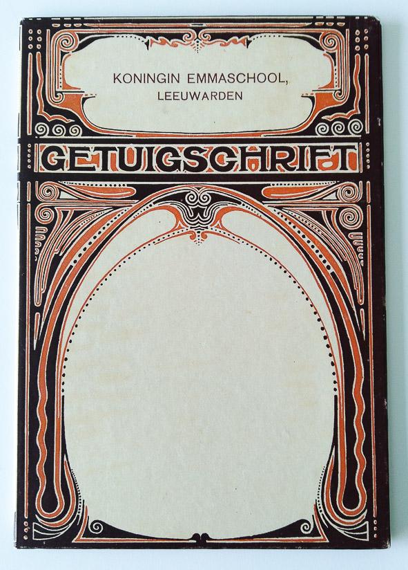 art nouveau getuigschrift Koningin Emmaschool Leeuwarden