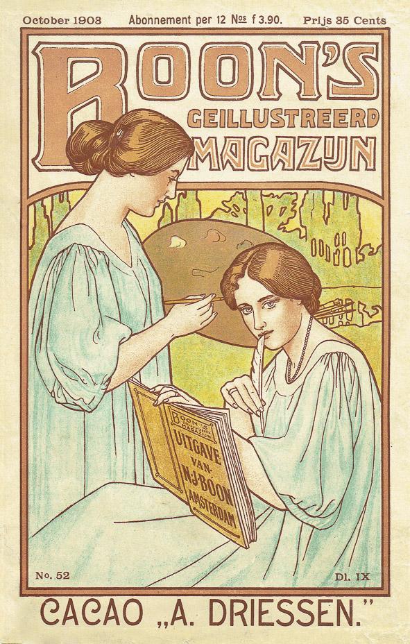 Art Nouveau omslag Boons Geïllustreerd Magazijn 1903 ontwerper Johann Georg van Caspel