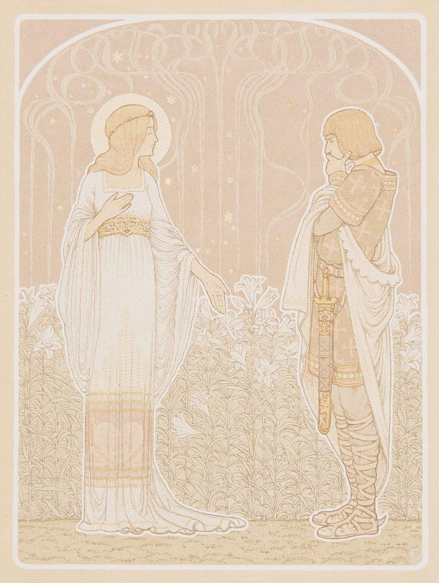 Hendricus Jansen litho illustratie voor Lied van Heer Haleweijn