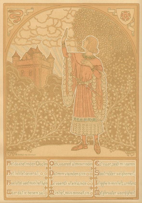 Prent 1 van Het daghet in den Oosten, ontwerp: Henricus Jansen (1909)