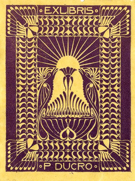 Ex libris, ontwerp: Piet Ducro (ca. 1910)
