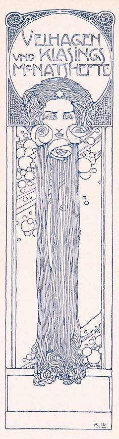 jugendstil boekenlegger van Velhagen und Klasings Monatshefte circa 1900