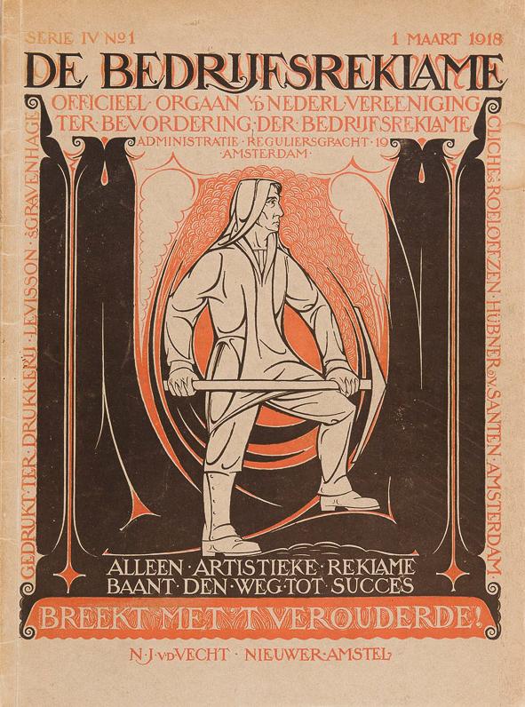 De Bedrijfsreklame, maart 1918, omslagontwerp: Nico van de Vecht
