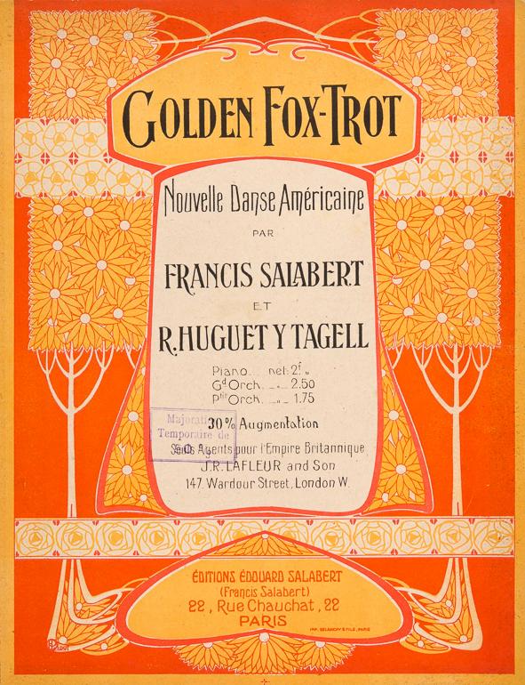 art nouveau jugendstil muziekblad - Golden Fox-Trot (ca. 1915)
