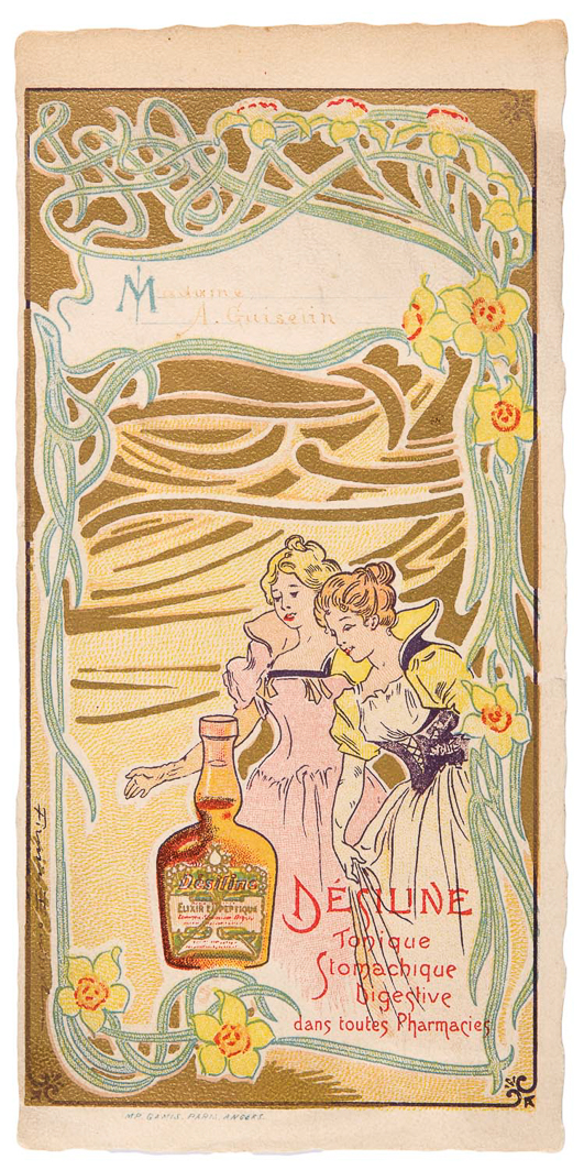 jugendstil art nouveau menukaart (reclame) Desiline 'tonique stomachique digestive'