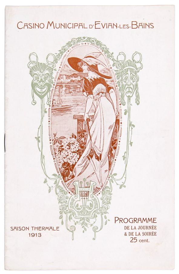 art nouveau programmaboekje Casino Municipal d'Evian-les-Bains (1913)