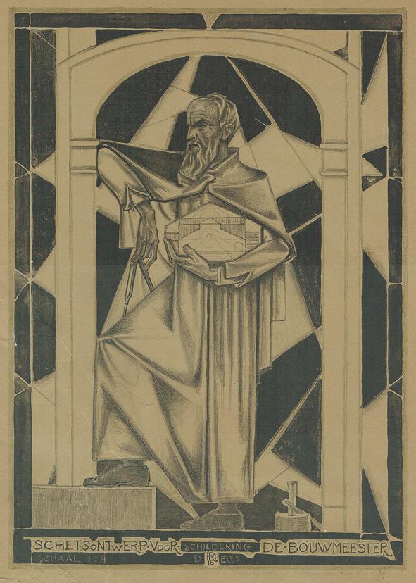 Schetsontwerp voor schildering De Bouwmeester, ontwerp: Richard Roland Holst (1918)