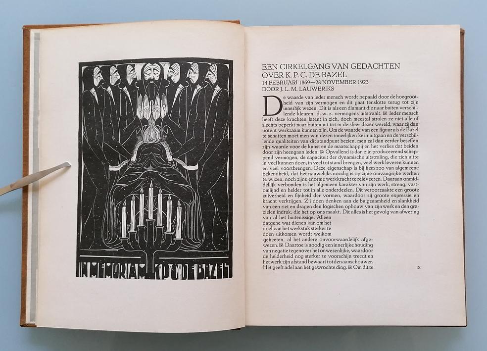 In memoriam-prent voor K.P.C. de Bazel uit VANK-jaarboek 1922, ontwerp: Chris Lebeau (1923)