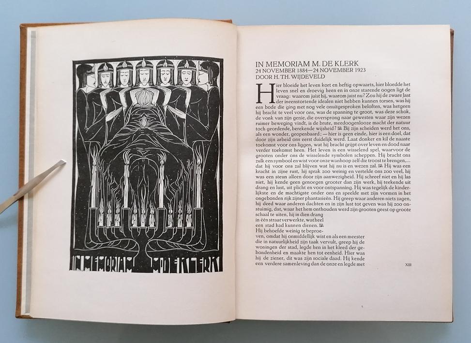 In memoriam-prent voor Michel de Klerk uit VANK-jaarboek 1922, ontwerp: Chris Lebeau (1923)