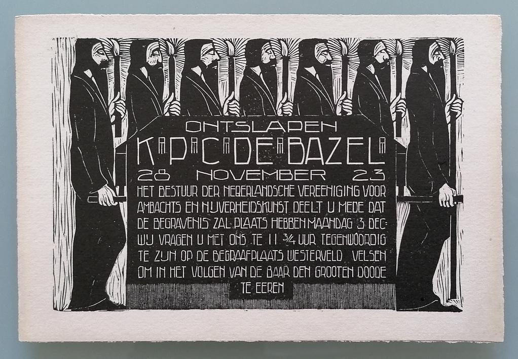Rouwkaart voor de begrafenis van Karel de Bazel, ontwerp: Chris Lebeau (1923)