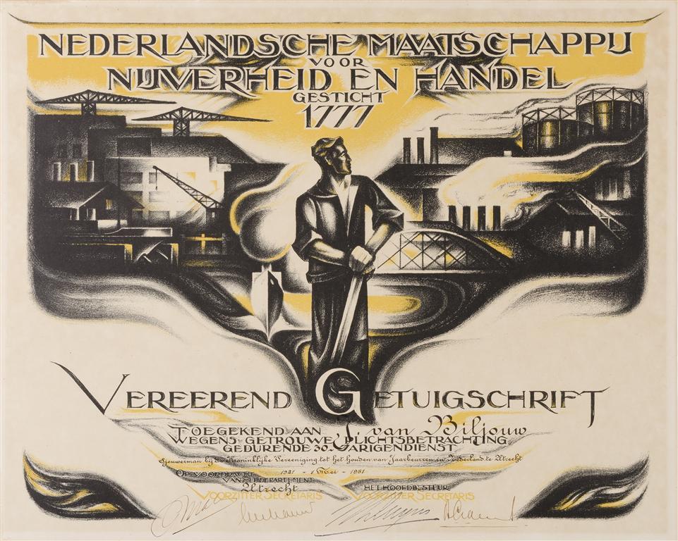 Getuigschrift Nederlandsche Maatschappij voor Nijverheid en Handel, ontwerp: M.P. van Reen