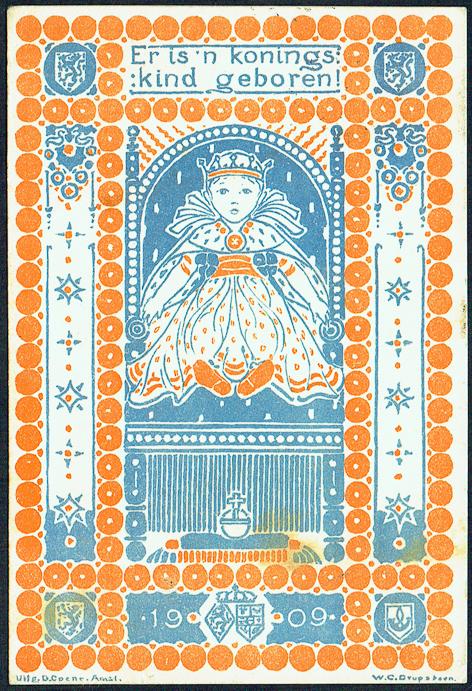 Briefkaart t.g.v. de geboorte van prinses Juliana, ontwerp: Wilhelmina Drupsteen (1909)