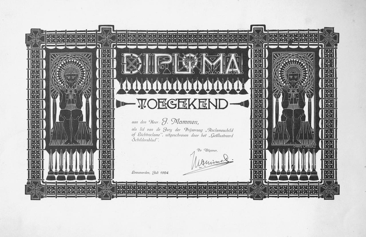 Diploma Geïllustreerd Schildersblad, ontwerp: Chris Lebeau (1911)