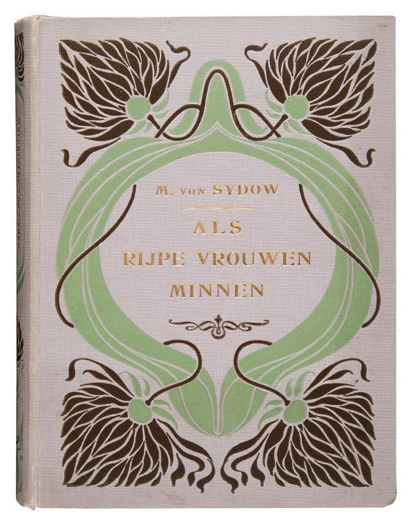Art nouveau boekband voor Als rijpe vrouwen minnen door Max von Sydow 1913 bandontwerp van Anna Sipkema