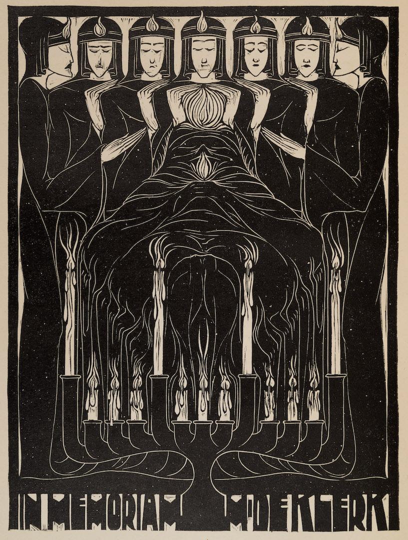 houtsnede in memoriam-prent voor Michel de Klerk uit VANK-jaarboek 1922, ontwerp: Chris Lebeau (1923)