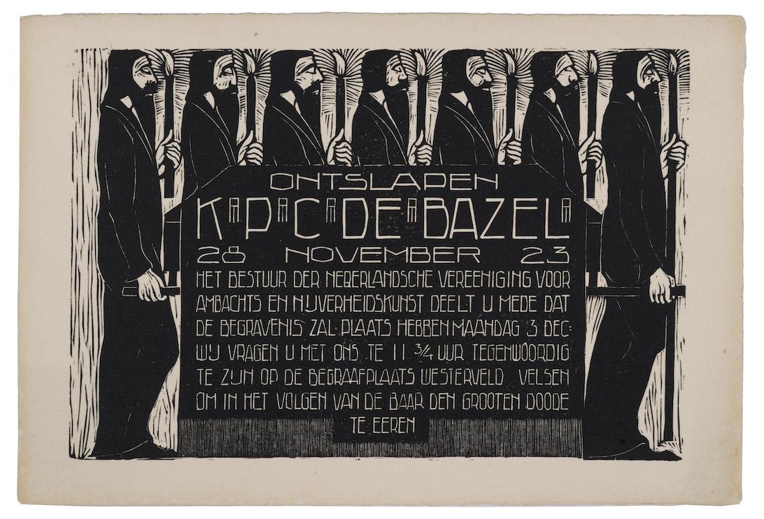 houtsnede Rouwkaart voor K.P.C. de Bazel, ontwerp: Chris Lebeau (1923)